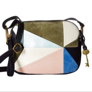 Fossil Elle Patchwork Suede Leather Crossbody Bag